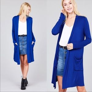 S,M Soft Knit Cardigan w/Pockets Royal Blue